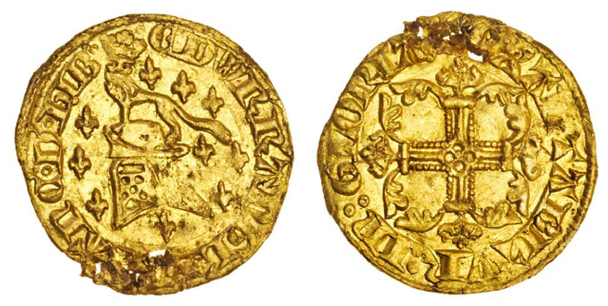 The exceptionally rare gold half florin of Edward III issued in 1344 that fetched $90,600 at Spink's September sale. Apart from its age, historical importance and composition, the rarity of this piece is largely due to its production lasting just six months. Image courtesy and © Spink.