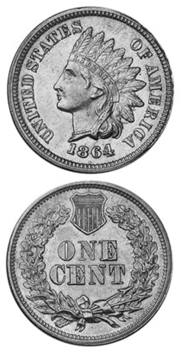 """Shown here is the 1864L type of Indian Head cent struck in bronze, which features an """"L"""" in the ribbon behind the obverse figure's hair. A second bronze and a copper-nickel type also exist."""