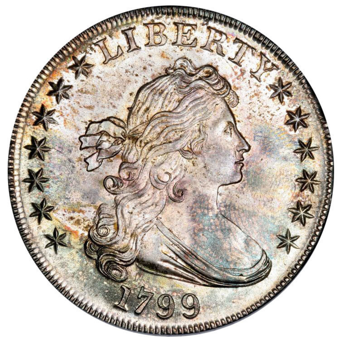 A 1799 Draped Bust dollar, graded MS-66, will also cross the block.