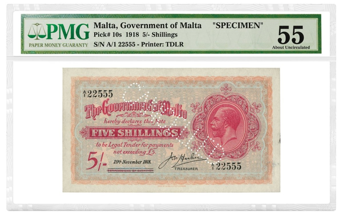 Malta 1918 5 Shillings Specimen graded PMG 55 About Uncirculated.