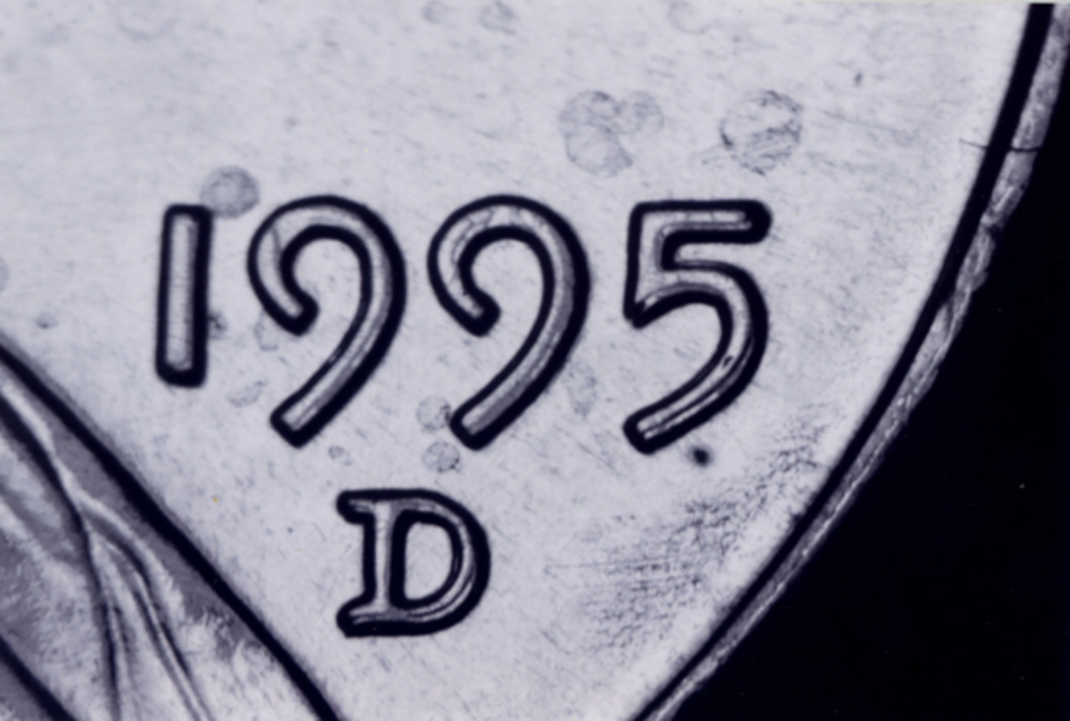 Doubling in the mintmark as well as the date is very clearly visible on this 1995-D doubled-die Lincoln cent. This coin is much rarer than the 1995 doubled-die cent.