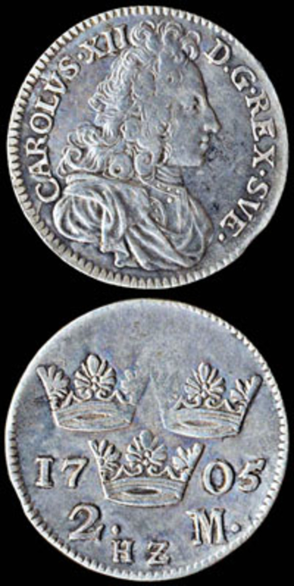 The silver 2 mark was the workhorse coin for most of the 18th century. On this one, we see King Charles XII at age 24, who died in battle at age 36. Actual diameter 30 mm.