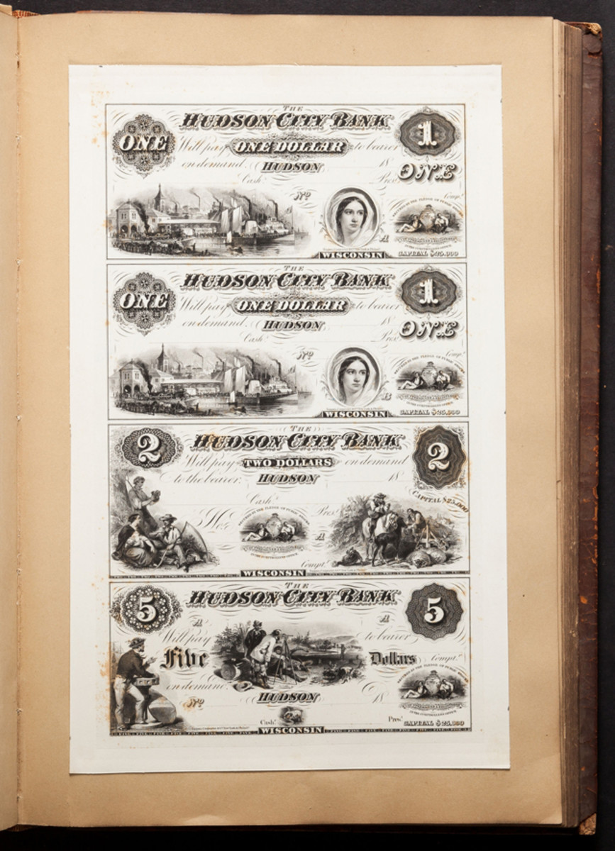 A proof sheet from the Hudson City Bank of Hudson, Wis., was one of several in a book that once belonged to bank note engraver James Smillie.