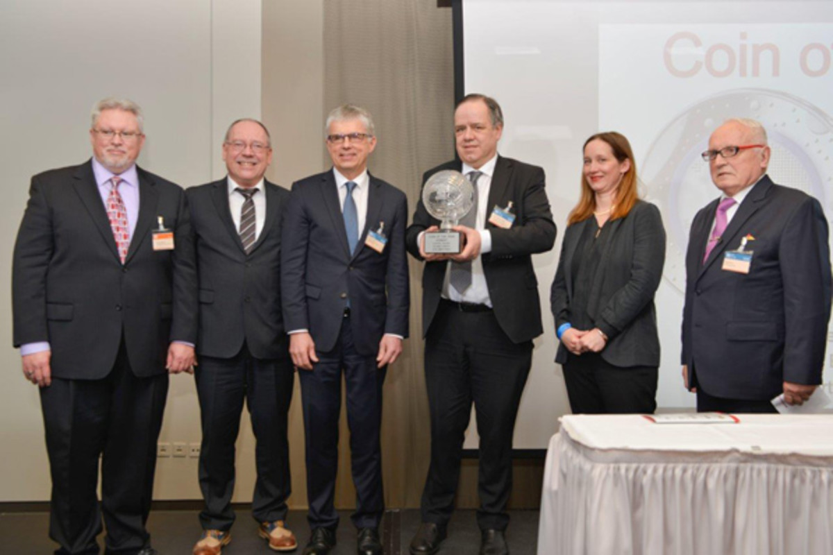 From left: Michael; Günther Waadt, mint director, Bavarian State Mint; Dr. Peter Huber, mint director, Baden-Württemberg State Mint; Dr. Thomas Dress, coinage official, German Federal Ministry of Finance; Alina Hoyer, designer of eagle on the winning coin (Most Innovative Coin / Coin of the Year, German Federal Ministry of Finance); and Beck.