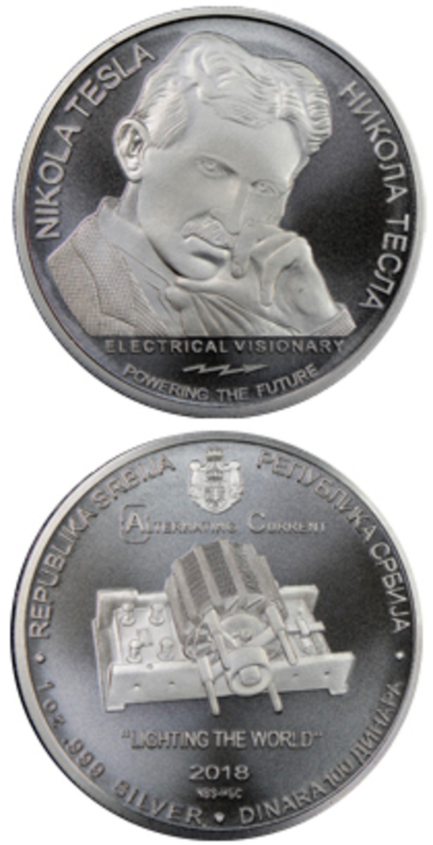 The first in a planned series of Tesla coins features an alternating current electric motor.