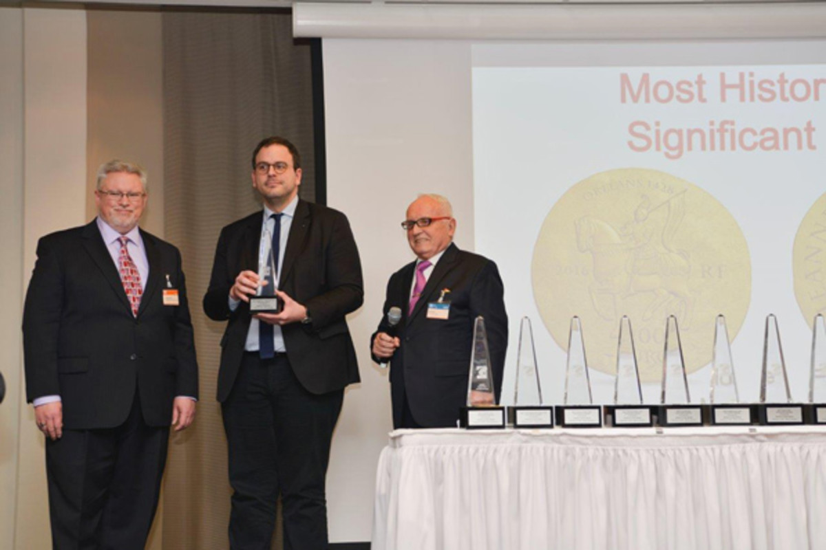 From left: Thomas Michael, senior editor, Standard Catalog of World Coins; Aurélien Rousseau, CEO, Monnaie de Paris (two awards, Most Historically Significant Coin and Best Crown); and Albert M. Beck, founder, World Money Fair.
