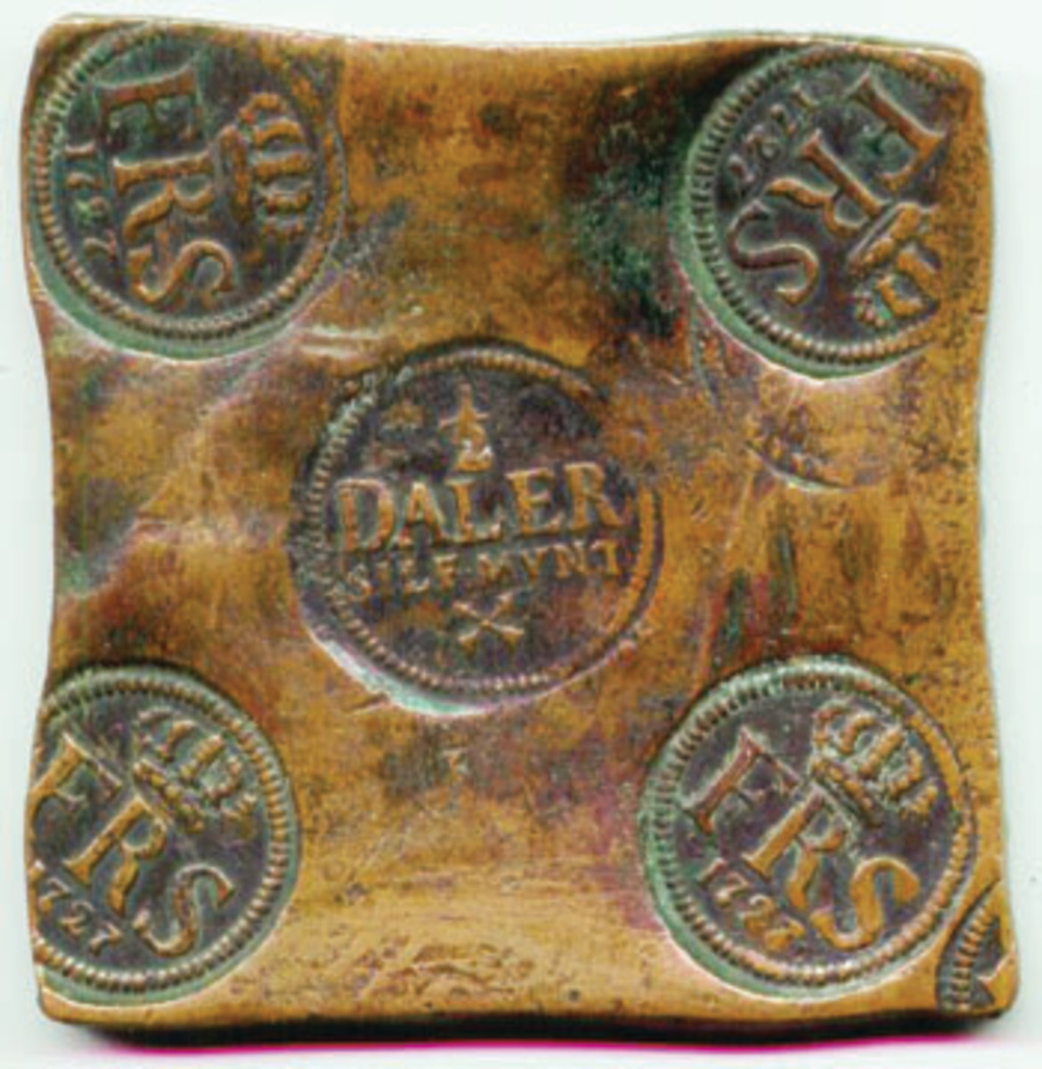 Copper plate money was struck year after year for more than a century. Aside from sea salvage, most of the remaining specimens are half dalers like this one, struck in the constitutional reign of Frederick I. Actual width 110 mm.