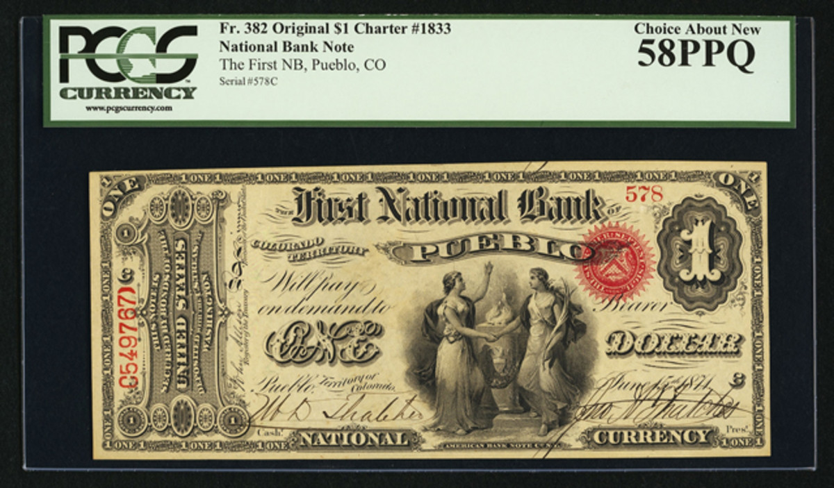 An Original Series $1 from the First National Bank of Pueblo, Territory of Colorado, sold for $35,250 in Fine 12.