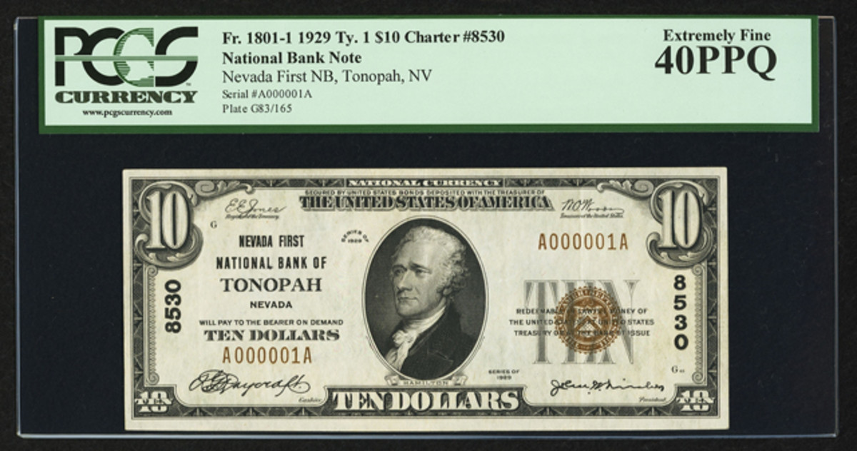A 1929 Type 1 serial No. 1 $10 from Tonopah, Nev. went for $38,187.50.