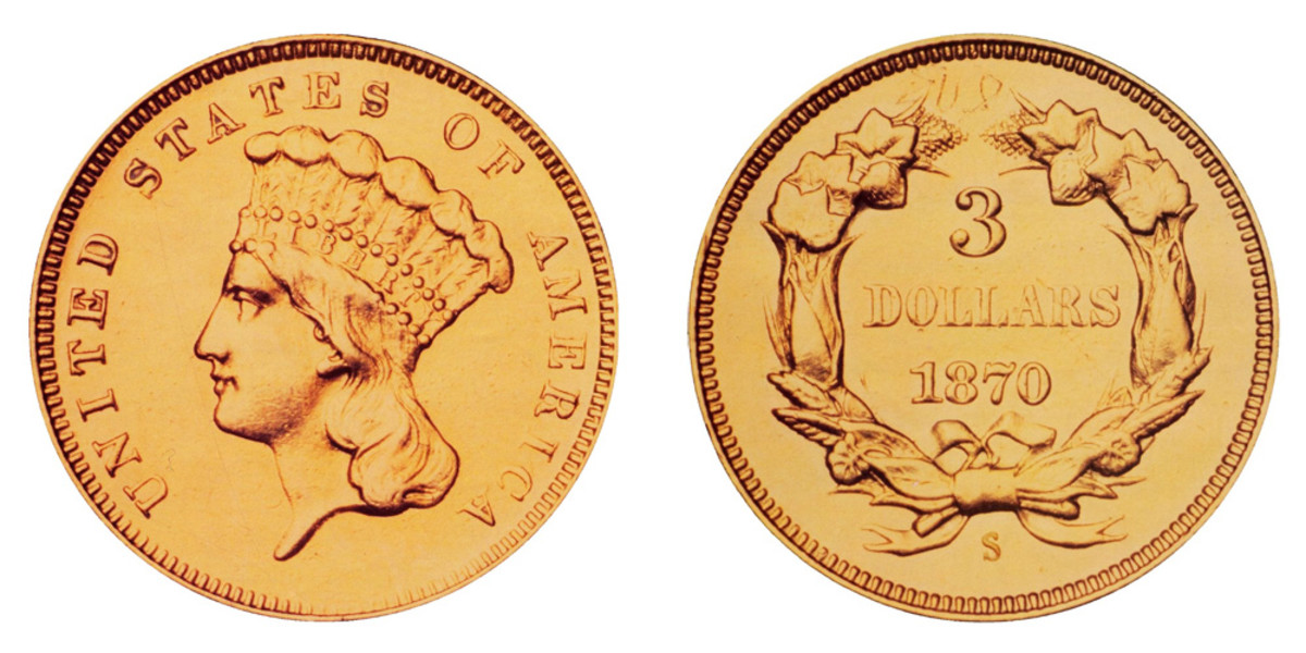 The Indian Princess Head 1870-S $ gold piece. (Images courtesy Stack's Bowers via usacoinbook.com)