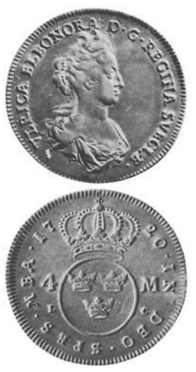 Ulrika Eleonora, her portrait displayed here on a silver 4 mark, was queen regnant for one year.