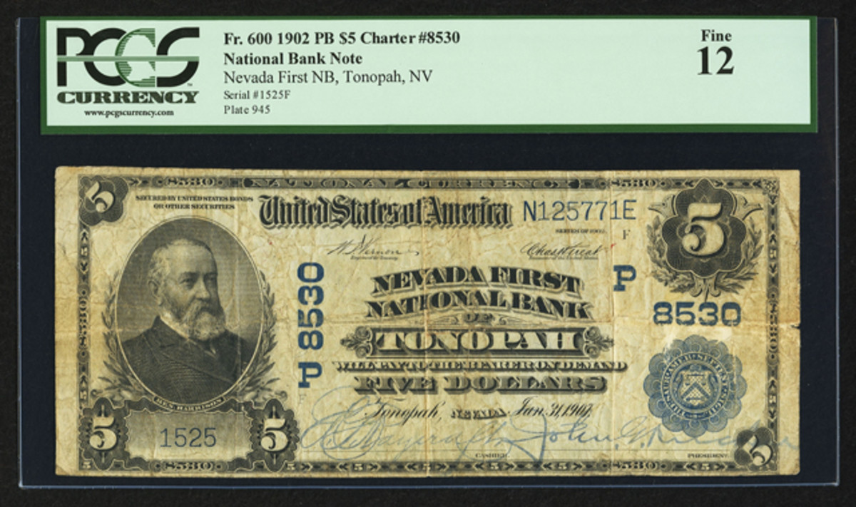 This 1902 $5 large-size from Tonopah, Nev. realized $22,325.