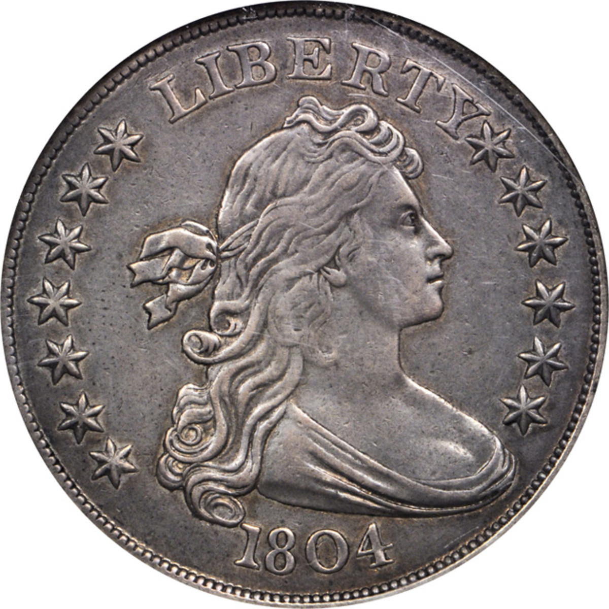 Obverse of the 1804 Class III silver dollar that was sold at the auction for