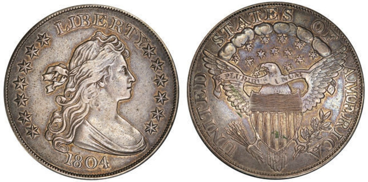 """What Stack's Bowers Galleries calls """"the most famous prize in coin collecting,"""" this 1804 silver dollar will come up for bid March 20 during the firm's auction held in conjunction with the Baltimore Whitman Coin & Collectibles Expo. (Images courtesy Stack's Bowers Galleries)"""