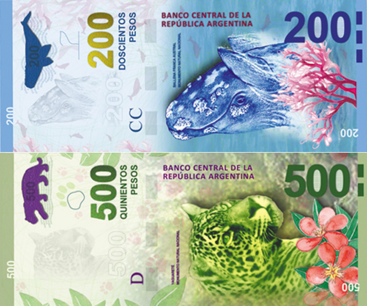 Argentina's new 200 and 500 peso bank notes.