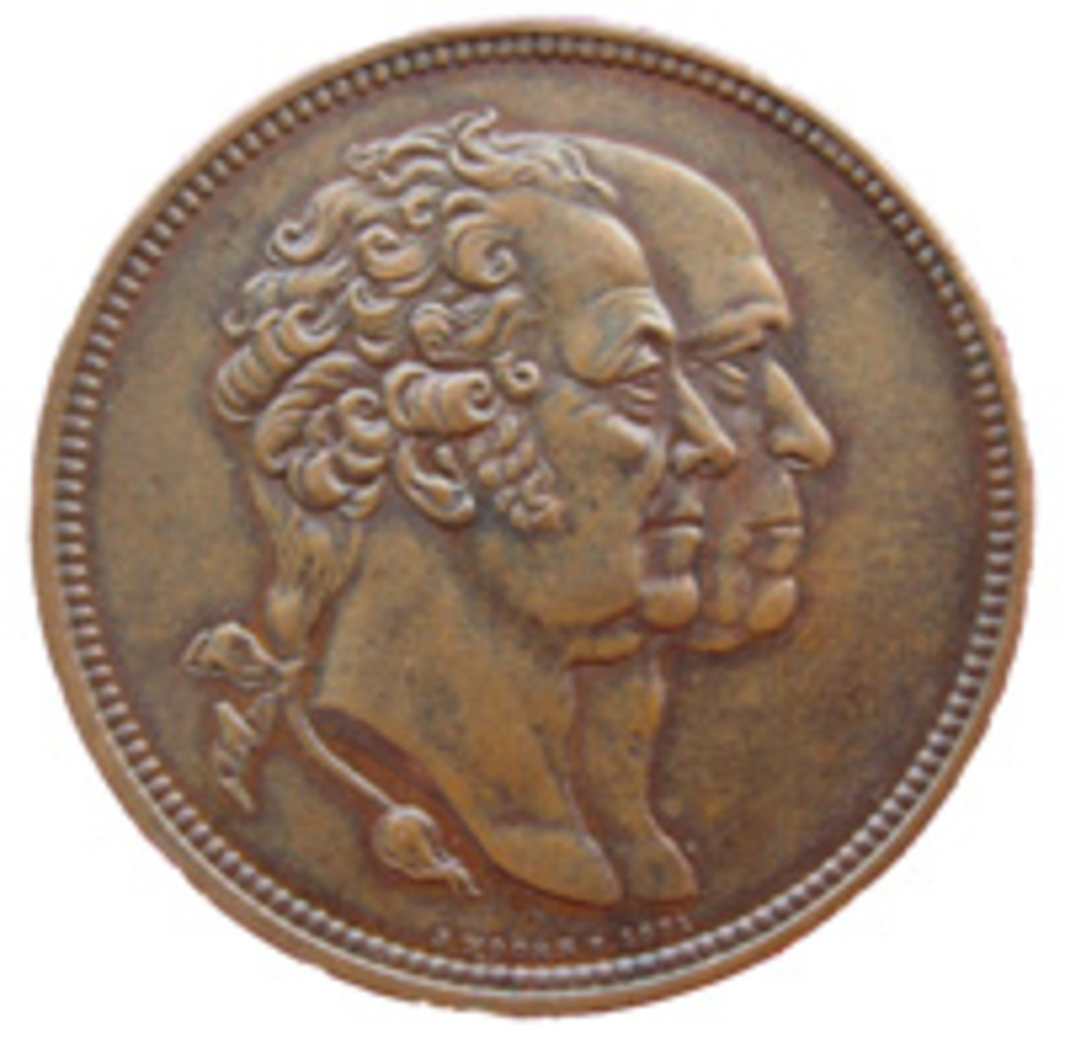 Conjoined busts of Boulton & Watt figure on a 37mm bronze medal by Joseph Moore and struck for James Watt & Co. (Image courtesy and © Chris Leather www.sohomint.info)