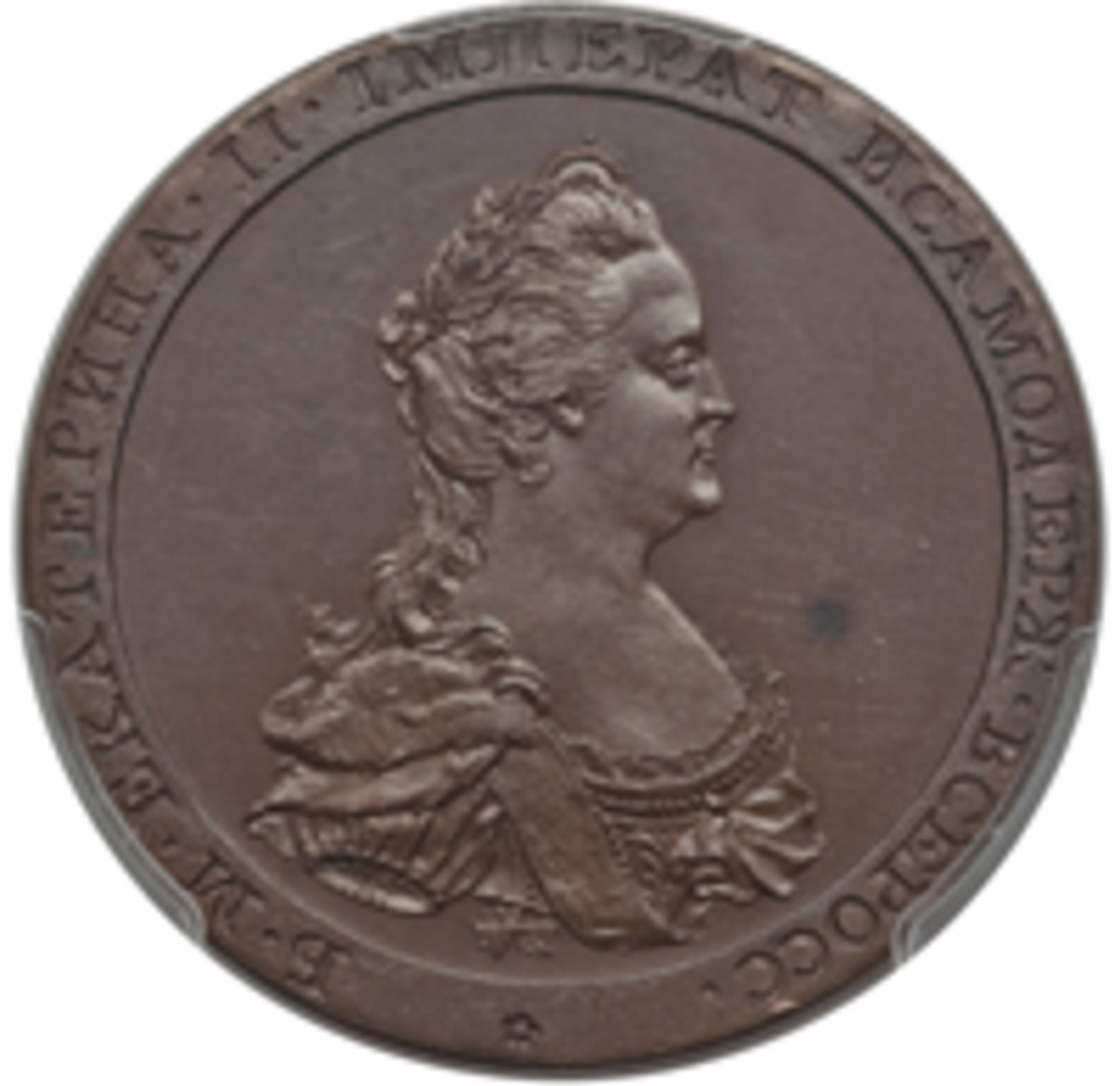 Catherine II death medal of 1796 engraved by Conrad Küchler and struck at the Soho Mint. (Image courtesy www.ha.com)