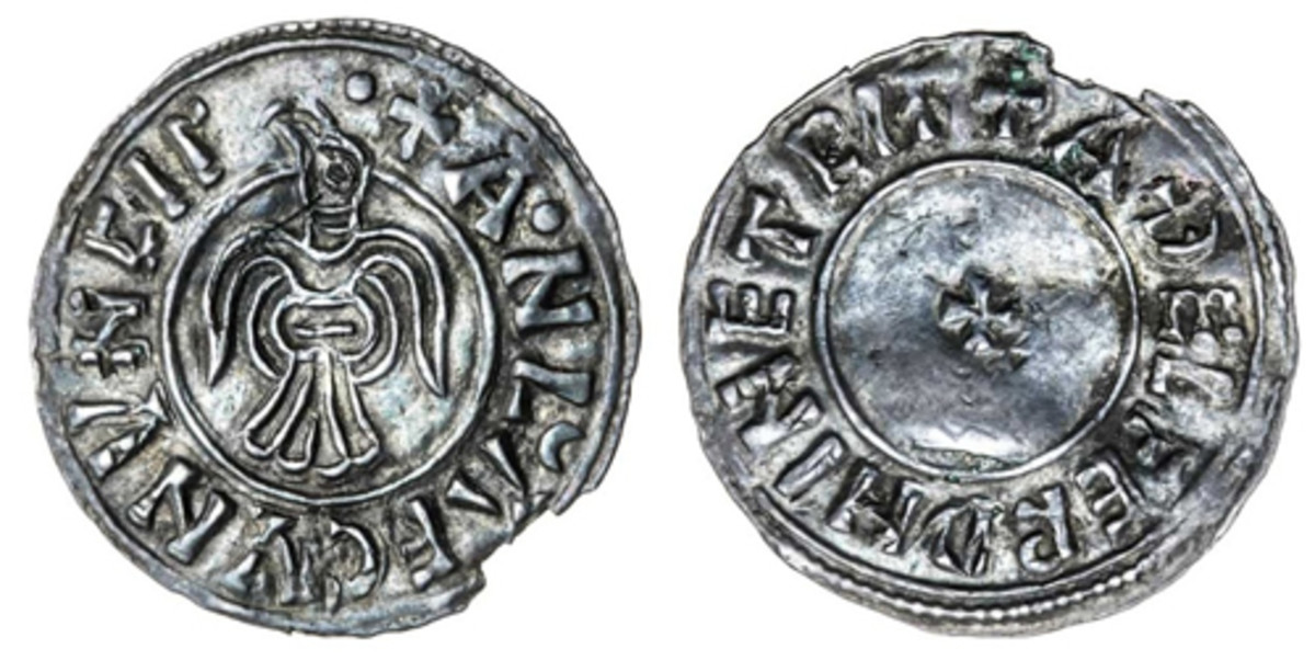 Superb raven-type issue of Anlaf Guthfrithsson of York (S-1019) that had no problems taking $13,545 in gVF. (Image courtesy and © Spink)