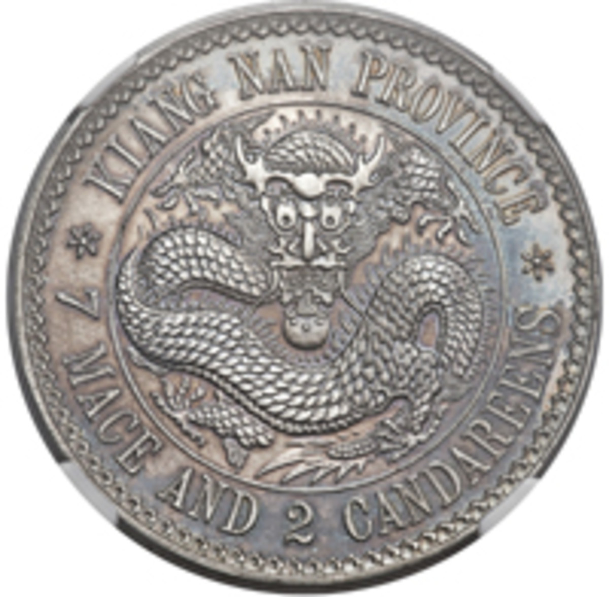 Undated proof pattern Kiang Nan, Kuang-hsu, plain edge dollar c. 1897 struck at the Heaton Mint, which sold for $240,000 graded PF65 NGC. (Image www.ha.com)