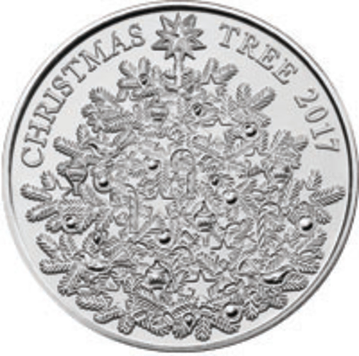 Reverse of Britain's Royal cupronickel seasonal £5 with Christmas tree. (Image courtesy & © Royal Mint)