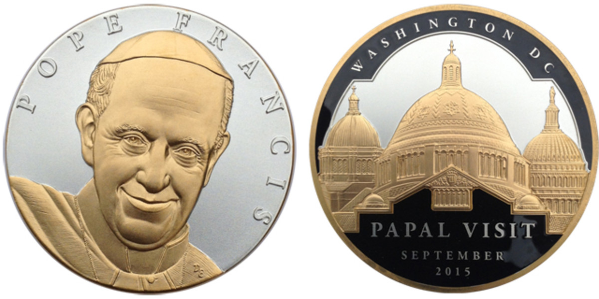 The design of the PAN medal commemorating Pope Francis' visit to America.