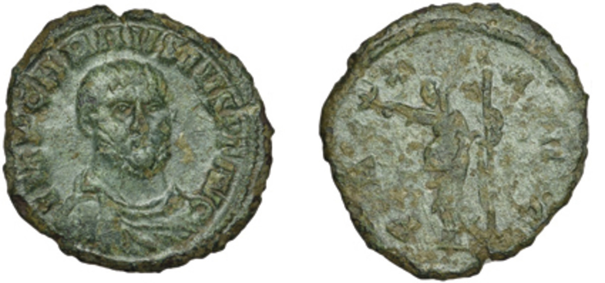 Roman rarity: uncataloged antoninianus of Carausius, emperor of Britain and Northern Gaul, showing a three-quarters facing bust and having the reverse legend PAX AVG. Graded F, it took $18,504, or nearly three times upper estimate. (Images courtesy DNW)