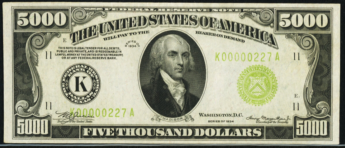 Lot 20635 is this $5,000 1934 Federal Reserve Note with signatures of Julien and Morgenthau. (Image courtesy of Heritage Auctions)