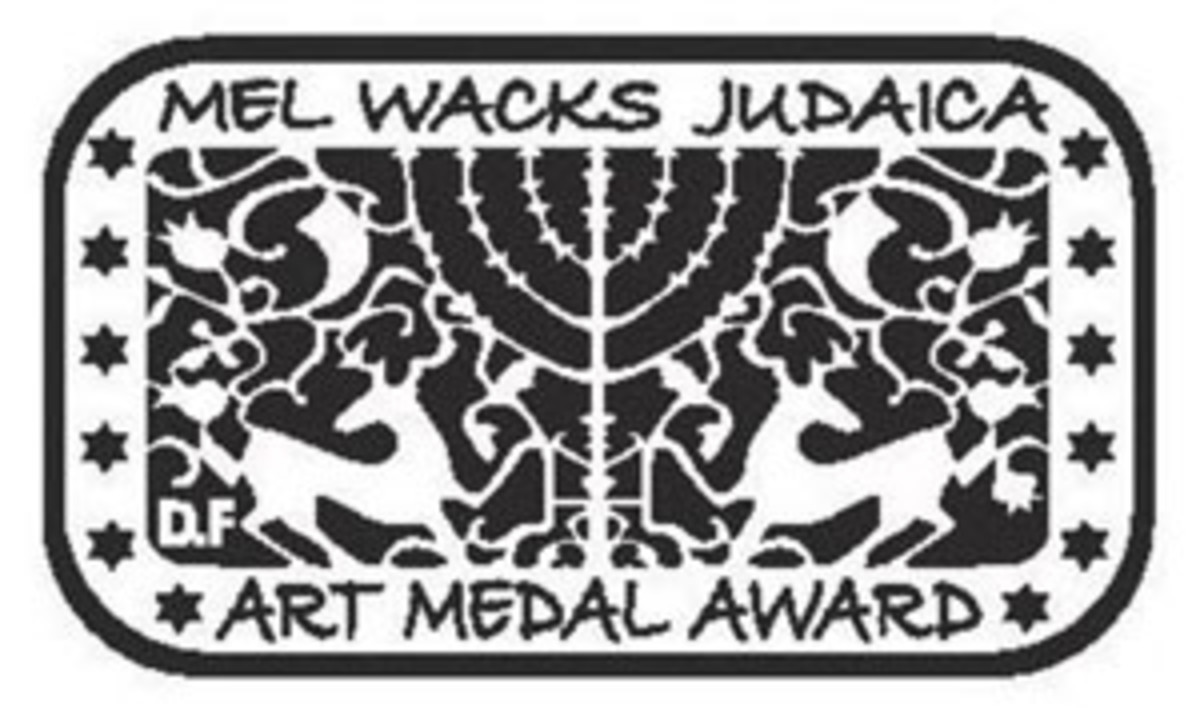 Mel Wacks Judaica Art Medal Award obverse design by Israeli artist David Fisher. Sponsored by the Jewish-American Hall of Fame.