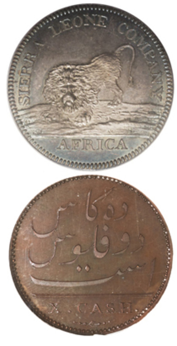 Proof of two early successful coins of the Soho Mint. Top: Sierra Leone Company dollar struck in silver KM-6; bottom: Madras Presidency 10 cash of 1808 in bronze KM-319, ex Boulton Family Collection. (Images courtesy www.ha.com)