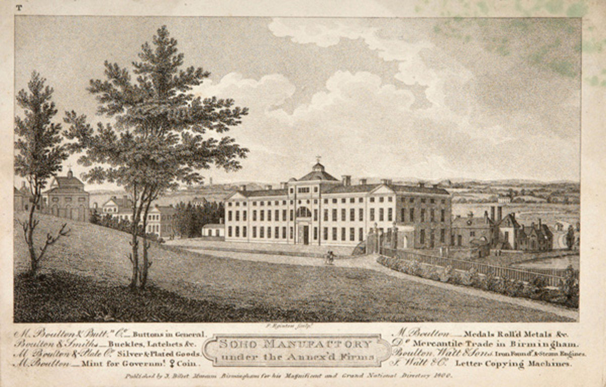 "Engraving of The Soho Manufactory from Stebbing Shaw's ""History and Antiquities of Staffordshire"" published in 1801. The caption details the ""Annex'd Firms"" stating their owners and products: ""M Boulton & Buttn. Co. - Buttons in General. M. Boulton - Medals, Roll'd Metals &c. Boulton & Smith - Buckles, latchets &c. Do. Mercantile Trade in Birmingham. M. Boulton & Plate Co. Silver & Plated Goods. Boulton Watt & Sons - Iron Foundy. & Steam Engines. M. Boulton - Mint for Govermt. Coin. J Watt & Co. Letter Copying Machines."" Boulton is given as the sole owner of the Mint. (Image courtesy Chris Leather www.sohomint.info)"