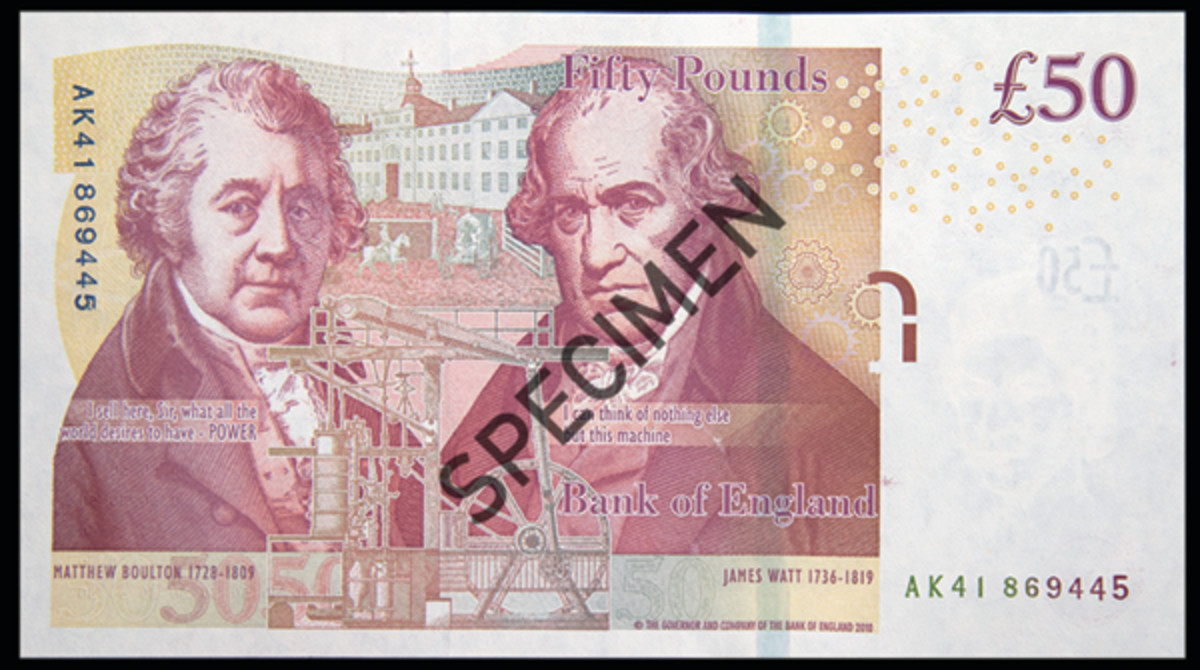 Back of current Bank of England £50 showing Boulton & Watt along with the oldest surviving of their rotative steam engines, the Whitbread Engine, built in 1785. In the background is The Soho Manufactory. (Image courtesy & © Bank of England)