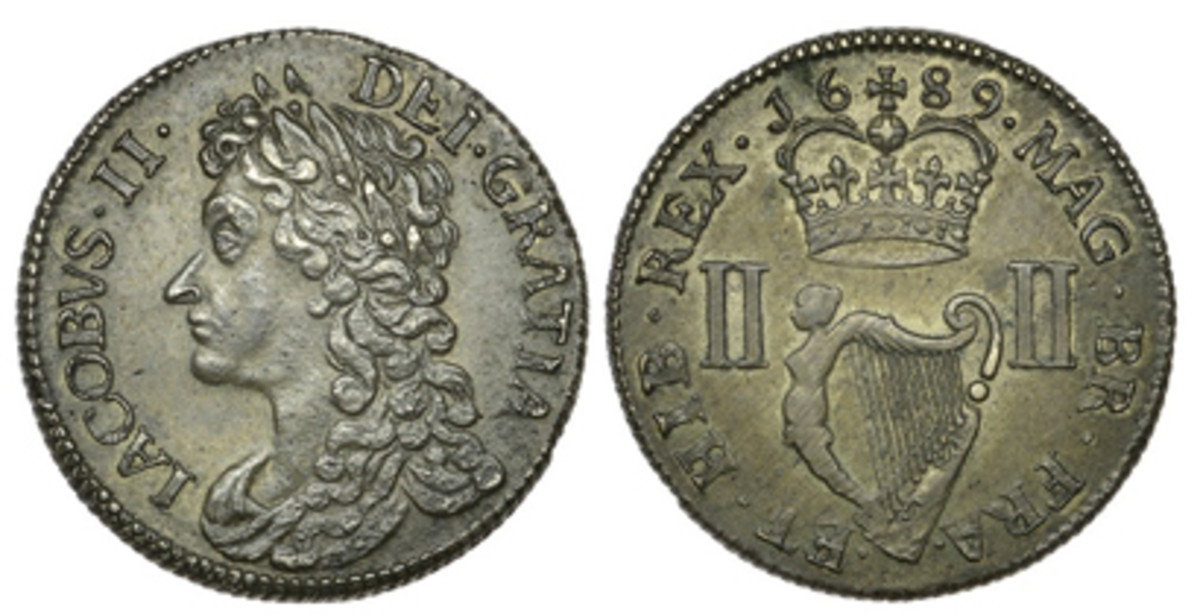 Irish gem: James II pewter money groat of 1689 (KM-98) in superb EF condition. One of just four known, it easily fetched $23,130. (Images courtesy DNW)