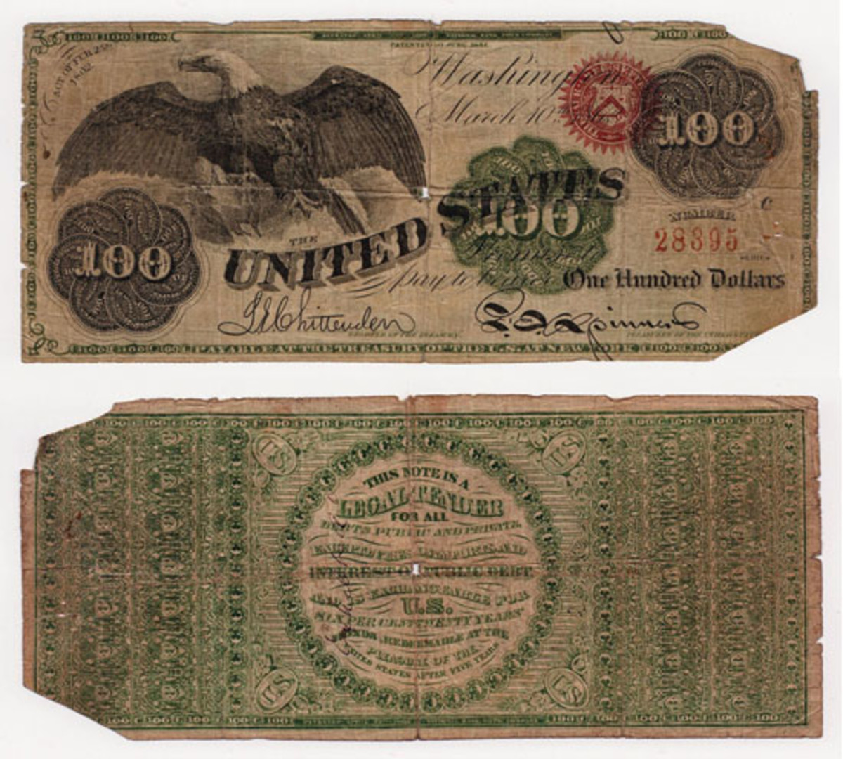 Front and back of the counterfeit $100 1862 legal tender note at the center of a court case between a fertilizer company based in Savannah, Ga., and a Knoxville, Tenn., bank. (Image courtesy of author)