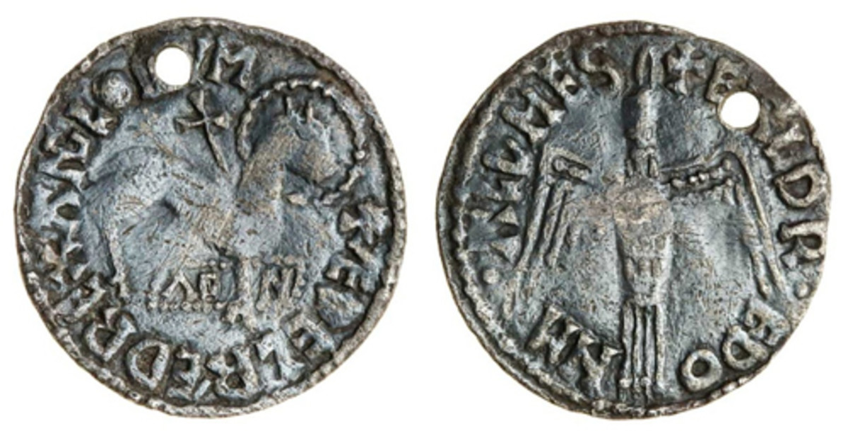 Enigmatic Agnus Dei penny of Aethelred II (S-1156) that fetched $28,683. Just one of three in private hands. (Image courtesy and © Spink)