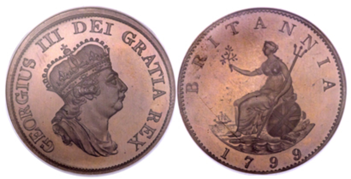 Marketing masterpiece: George III proof pattern halfpenny of 1799, ex. Boulton Family Collection. (Images courtesy www.ha.com)