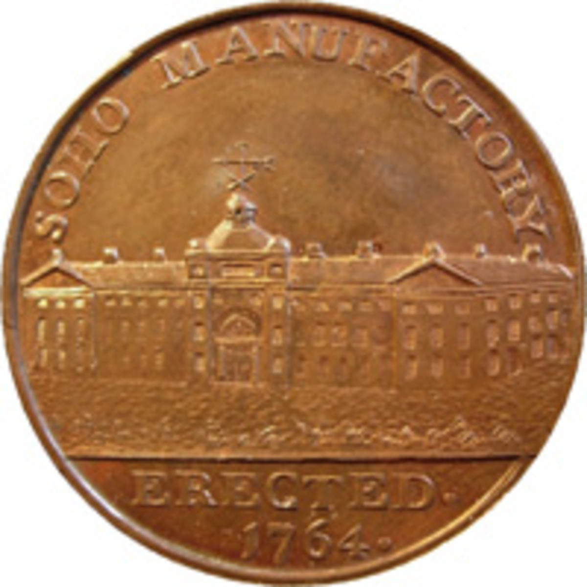 Copper token by Peter Kempson, 1797, depicting Matthew Boulton's Soho Manufactory. (Image courtesy and © Chris Leather www.sohomint.info)