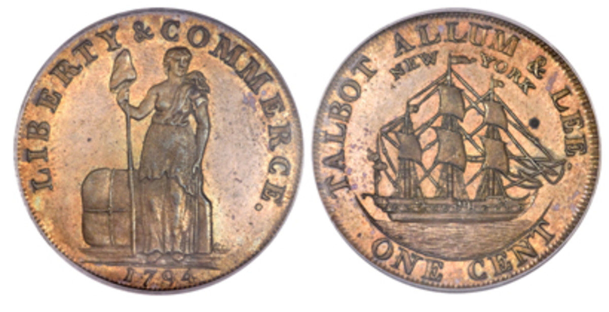 Private token issues were all grist to Boulton's mill as in this gorgeous example of a 1794 Talbot, Allum & Lee cent (Fuld-4, W-8590) . Like all Boulton coin and token products, high-quality proofs were struck to provide portfolio specimens to tout for further business, as well as for sale to collectors such as Lady Dorothea Banks, wife of Sir Joseph Banks, an influential friend of Boulton. (Images courtesy www.ha.com)