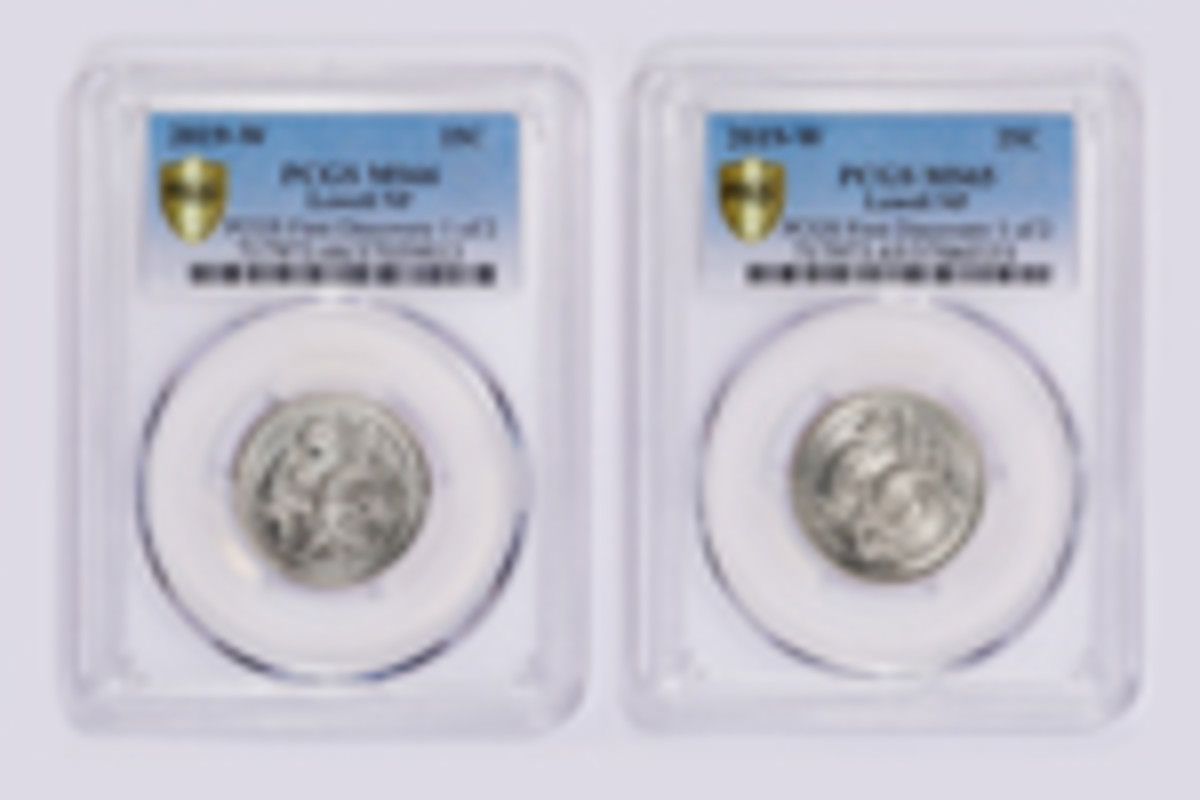 PCGS First Lowell 2019-W quarters:  Fifty cents = $5,000: The two Quarter Quest-winning PCGS First Discovery 2019-W Lowell quarter dollars side-by-side. (Photo courtesy of Professional Coin Grading Service www.PCGS.com.)