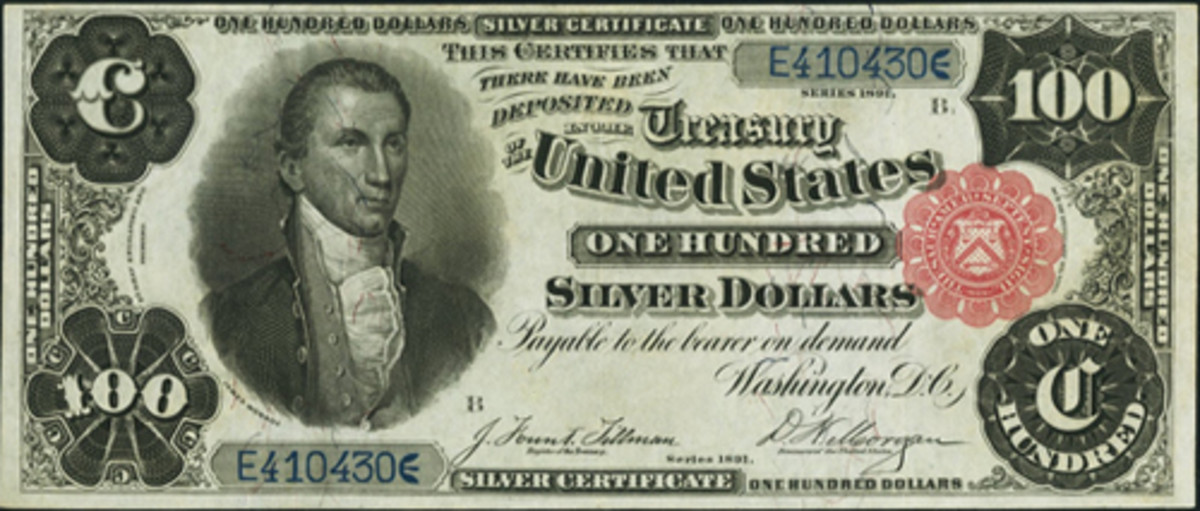 This 1891 $100 Silver Certificate sold for $152,700 in Long Beach.