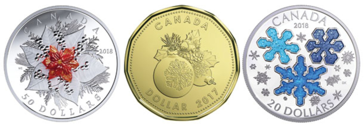 Three of the Royal Canadian Mint's Christmas/Holiday seasonal coins currently available. Left: Murano glass poinsettia; center: Christmas decorations $1; right blue snowflakes $20 proof. (Images courtesy RCM)