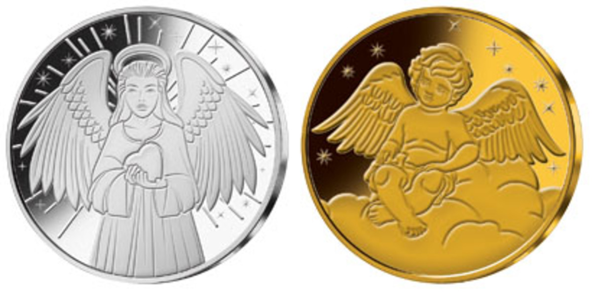 Samoa's silver- and gold-plated 50 cents showing angels. (Images courtesy MDM Muenzhandelsgesellschaft)