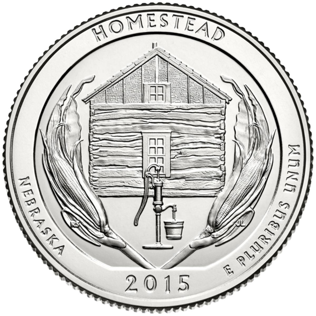 The 2015 Homestead National Monument quarter.