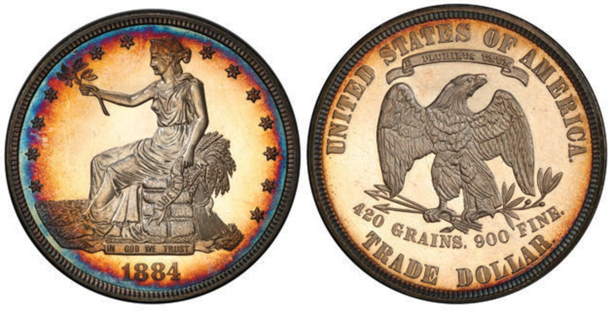 This 1884 Trade dollar graded PR-64+ by PCGS is the fourth finest certified of the 10 specimens known. Images courtesy PCGS