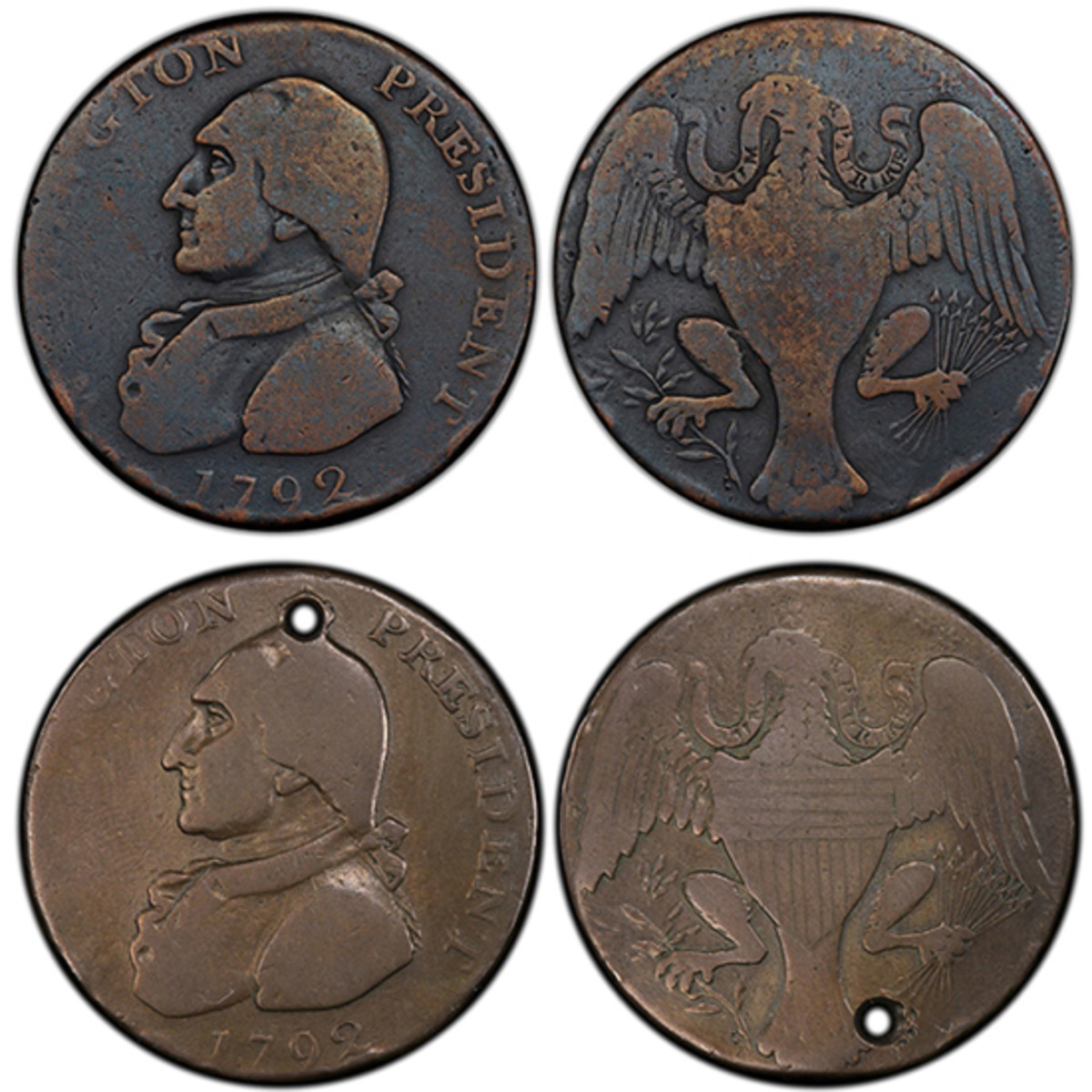 Detective work by PCGS showed that the coin at top was actually a doctored coin that had started out looking like the piece at the bottom.