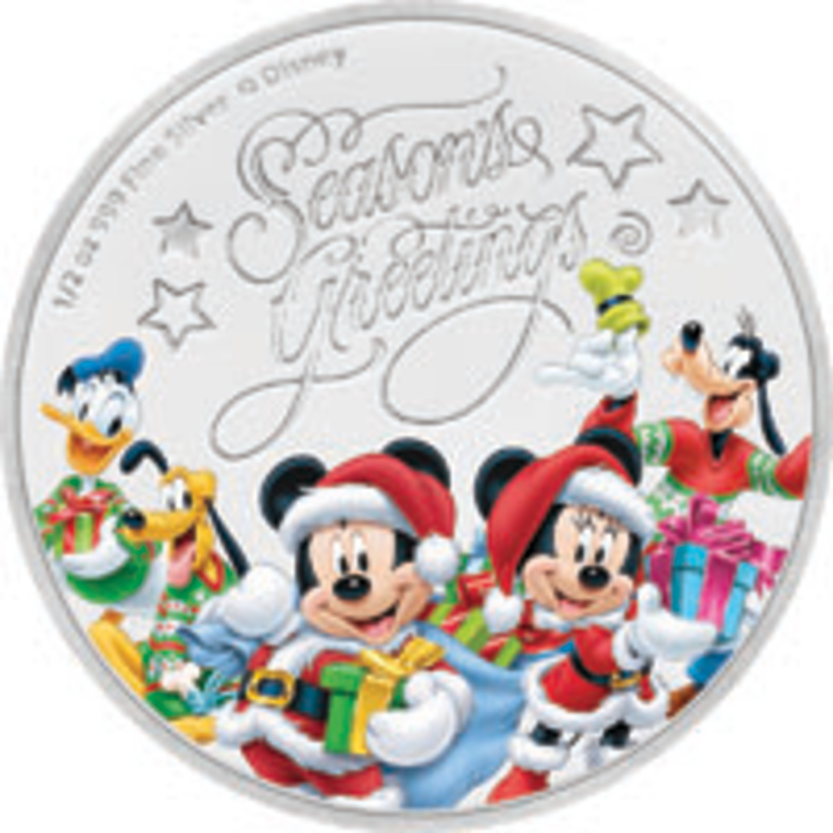Mickey & Friends welcome the holiday season on a Niue $1. (Image courtesy Power Coin)