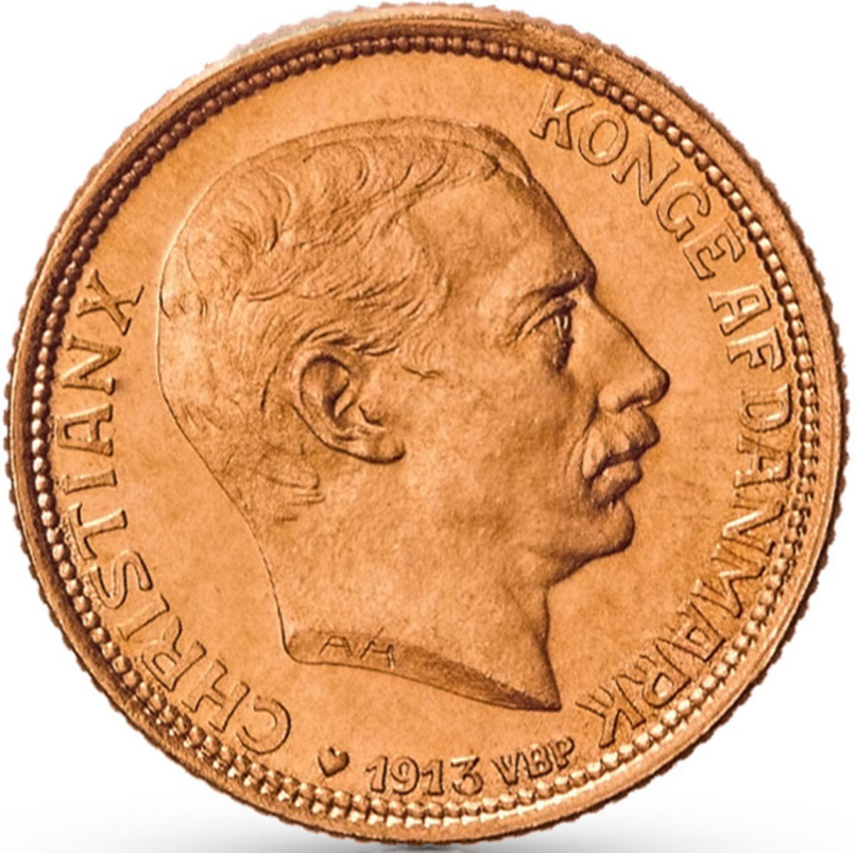 Obverse of a 1913 20 Kroner featuring the bust of King Christian X