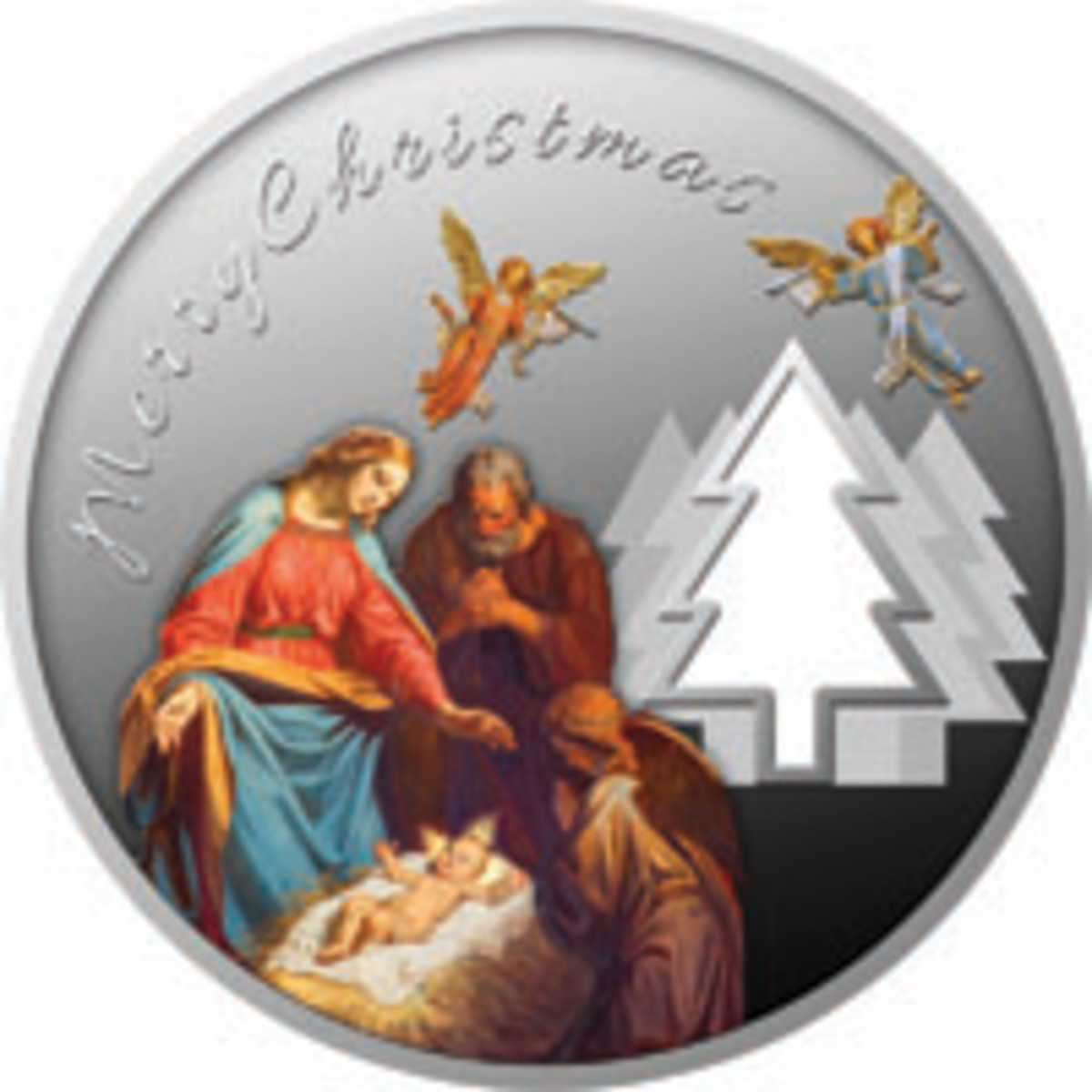 A traditional Christmas features on a Cameroon silver proof 500 francs. (Image courtesy Power Coin)