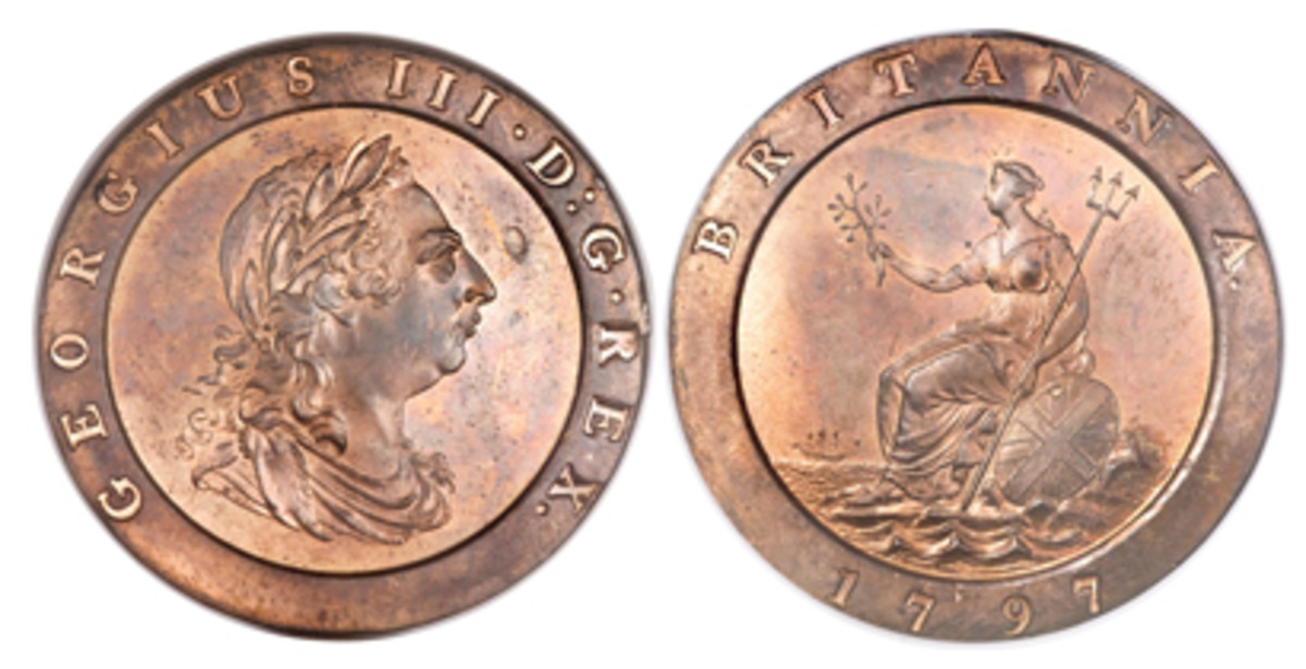 Spectacular example of one of Boulton's best-known coins: George III twopence of 1797 (S3776, KM-619) struck in two ounces of copper. Note the 2 mm-long depression to the right of the king's nose. It indicates an early striking prior to all the kinks being ironed out of the new methodology. (Images courtesy www.ha.com)