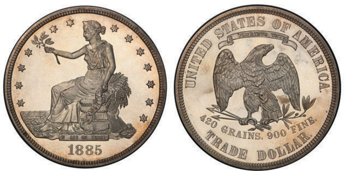 An 1885 Trade dollar graded PR-64 by PCGS is sure to be a show-stopper during Stack's Bowers' Baltimore auction. (Images courtesy PCGS)