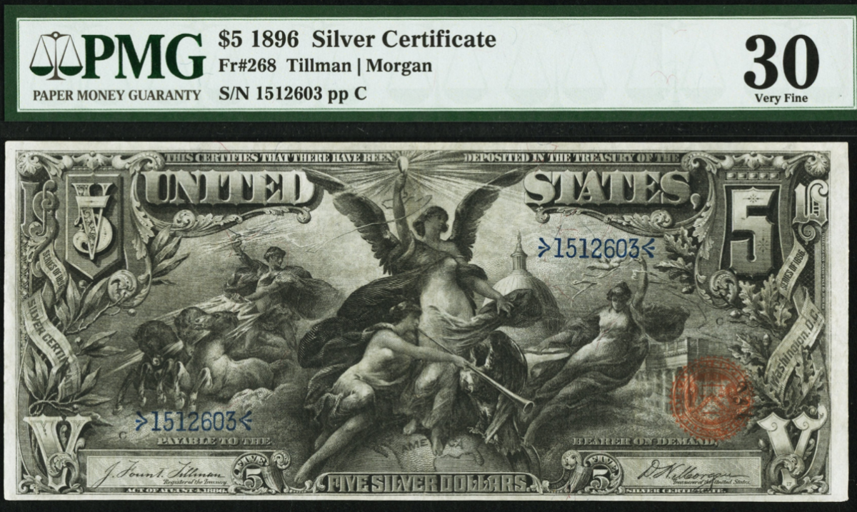 Lot 20776 is a $5 1896 Silver Certificate signed by Tillman and Morgan. (Image courtesy of Heritage Auctions)